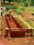 19' X 3'...The first of a series of raised beds we are building this summer.